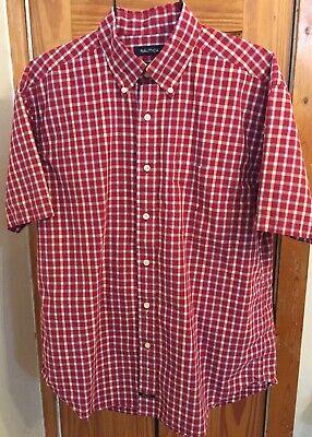 Nautica 100% Cotton Red & White Sanded Poplin Plaid/Check S/S Men's Size L Shirt