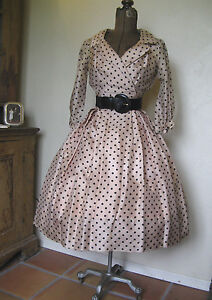 VINTAGE 1950'S SUZY PERETTE POLKA DOT SILK PARTY BOMBSHELL DRESS S