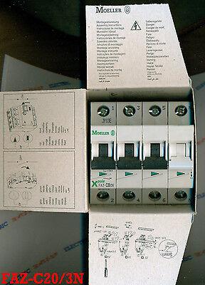 Moeller Faz-c20/3n 20 Amp 3 Pole With Neutral Miniature Circuit Breaker