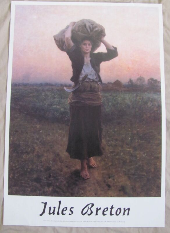 Lovely Jules Breton Print Poster The Shepherd's Star 1887 Toledo Museum of Art