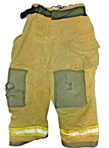 40x30 Globe Gxtreme Brown Firefighter Turnout Pants With Yellow Tape P1227