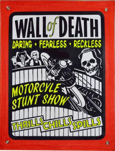WALL OF DEATH MOTORCYCLE DAREDEVIL  SIDESHOW BANNER Carnival Coney Island
