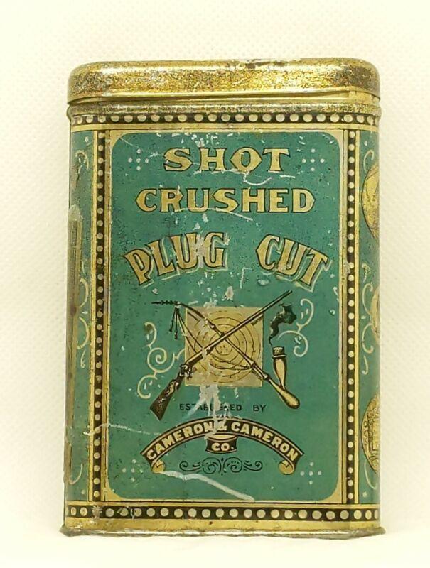Scarce *SHOT* Empty Antique Pocket Tobacco Tin w/Hunting Theme - Cameron  (224)