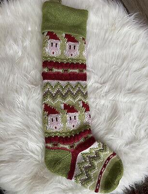 Pottery Barn Kids Classic Fair Isle Knit Santa Christmas Stocking Green Sweater