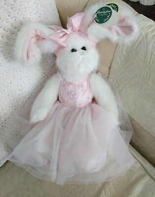 Bearington Collection Bears Tippy Toes White Bunny Rabbit Ballerina Jointed Tags