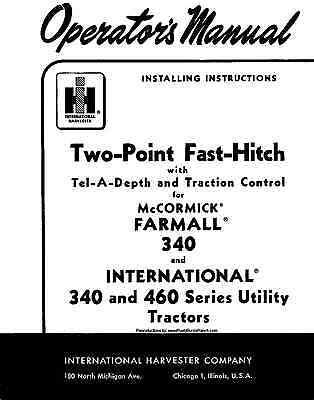 Farmall 340 Ih 460 Two Point Fast Hitch Operators Manual International Harvest