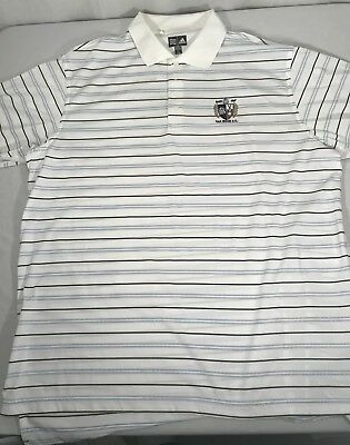 Adidas Clima Cool Mens XLarge White Stripe Polo Oak Ridge C.C Patch Oak Ridge Stripes