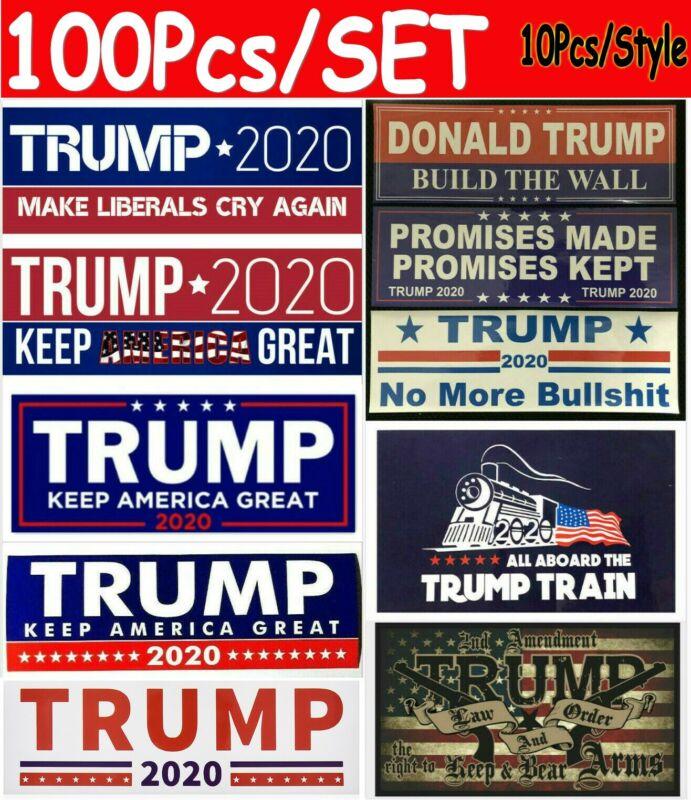 100 pcs Lots Donald Trump Bumper Stickers 2020 Keep America Great Train Sticker