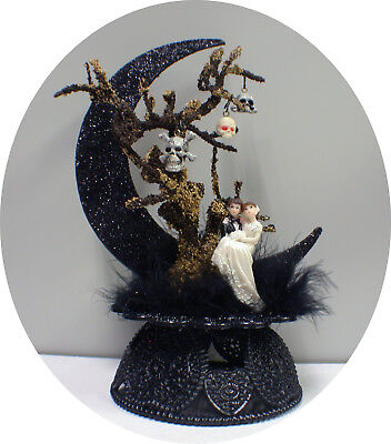 Skull Tree Halloween Skeleton Wedding Cake Topper Shower Groom  top engagement (Halloween Wedding Toppers)