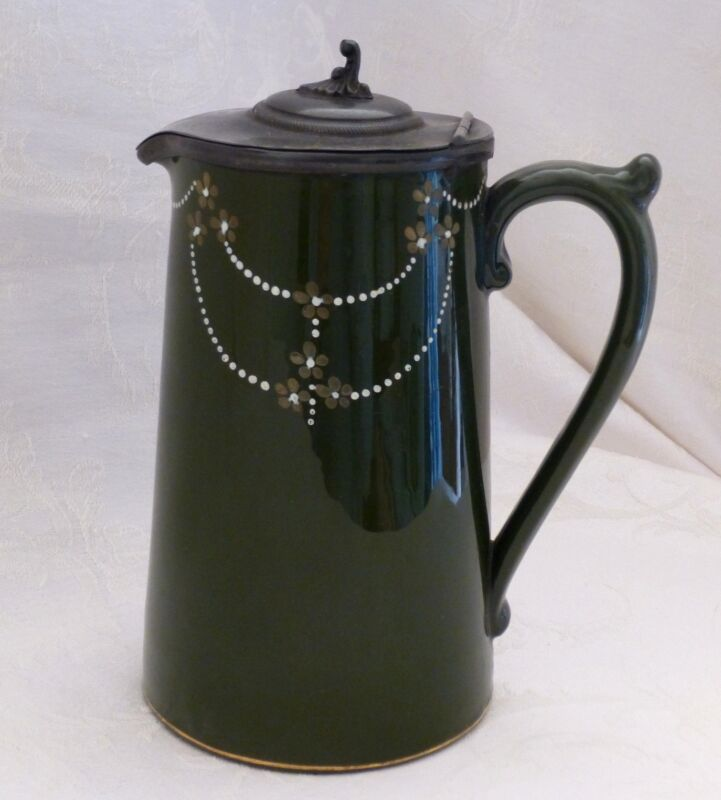 Syrup or Breakfast Pitcher with metal lid, Antique English Earthenware