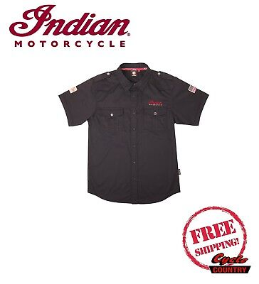 GENUINE INDIAN MOTORCYCLE BRAND MEN'S CASUAL SHOP SHIRT BLACK NEW SCOUT CHIEF