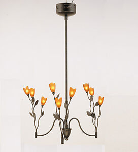 TULIPS New Premium 9-Light Pendant Chandelier Ceiling Fixture In Amber & Bronze