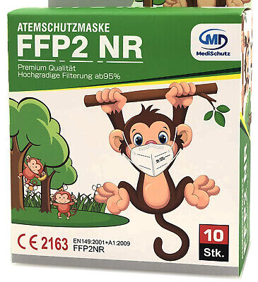 10x FFP2 Maske Atemschutz Mundschutz CE zertifiziert Größe S passend für Kinder