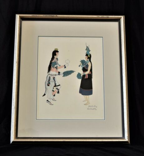 Vintage Framed Original Painting Quah Ah Tonita Pena Native American Dancers