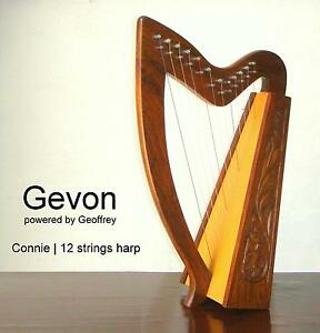 Gevon-12-Strings-Rosewood-Connie-Irish-Harp-Carry-bag-Tunning-key