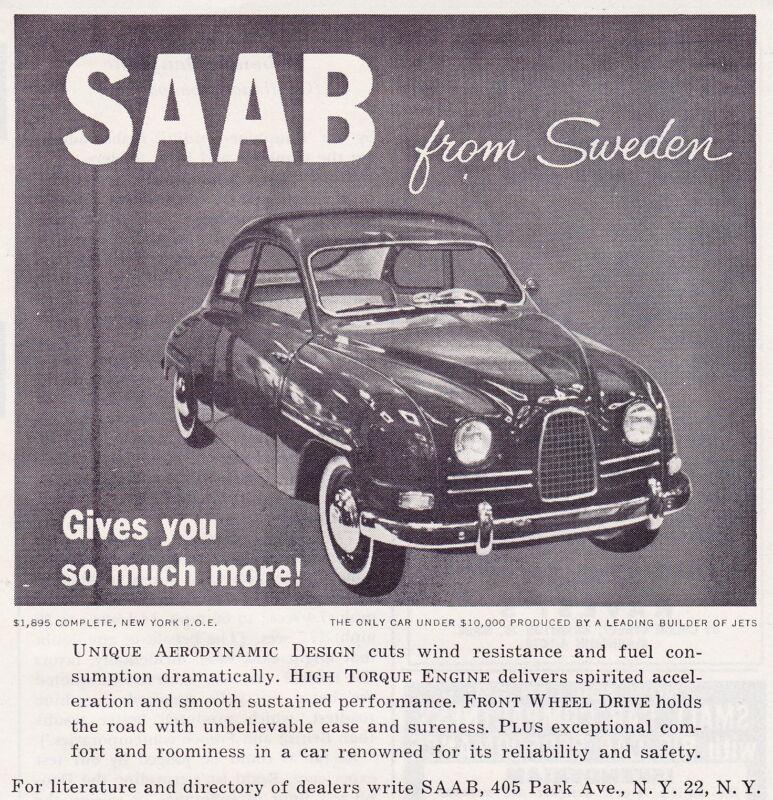 1959-1960 SAAB  ~  ORIGINAL SMALLER PRINT AD