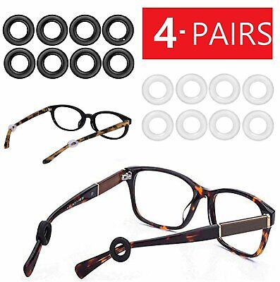4-Pair Silicone Eyeglasses Ear Hooks Tips Ring Sleeve Anti-Slip Round Glasses Health & Beauty