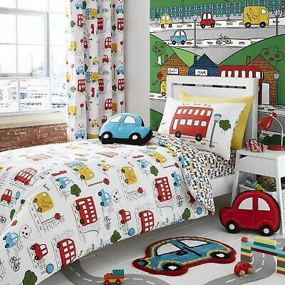 Catherine Lansfield Kids Boy Transport Bright Car Single Duvet Cover Bedding Set ()