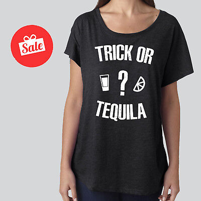 Trick Or Tequila Funny HALLOWEEN Drinking Party Tank Or Slouchy Dolman.  - Halloween Tequila Drinks