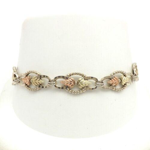 Vintage Sterling Silver 12k Black Hills Gold Leaves Link Bracelet 7 Inch