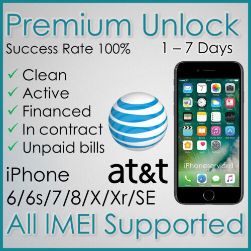 PREMIUM AT&T ATT FACTORY UNLOCK SERVICE FOR IPHONE Xr X 8 7 6s 6 Unpaid Payments