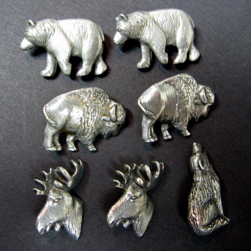 Danforth Pewter Buttons Lot Of 7 Vintage 1991 Bison Moose Bear Wolf Realistic