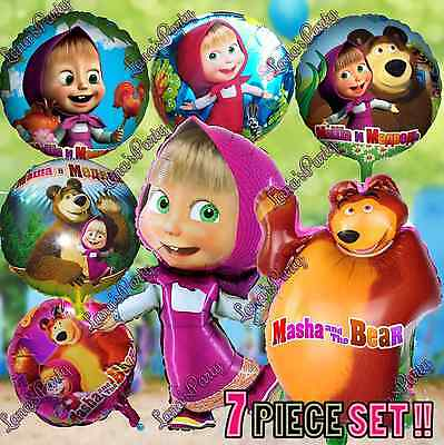 ❤ Masha and the Bear BIRTHDAY PARTY DECORATION  BALLOONS table cover banner