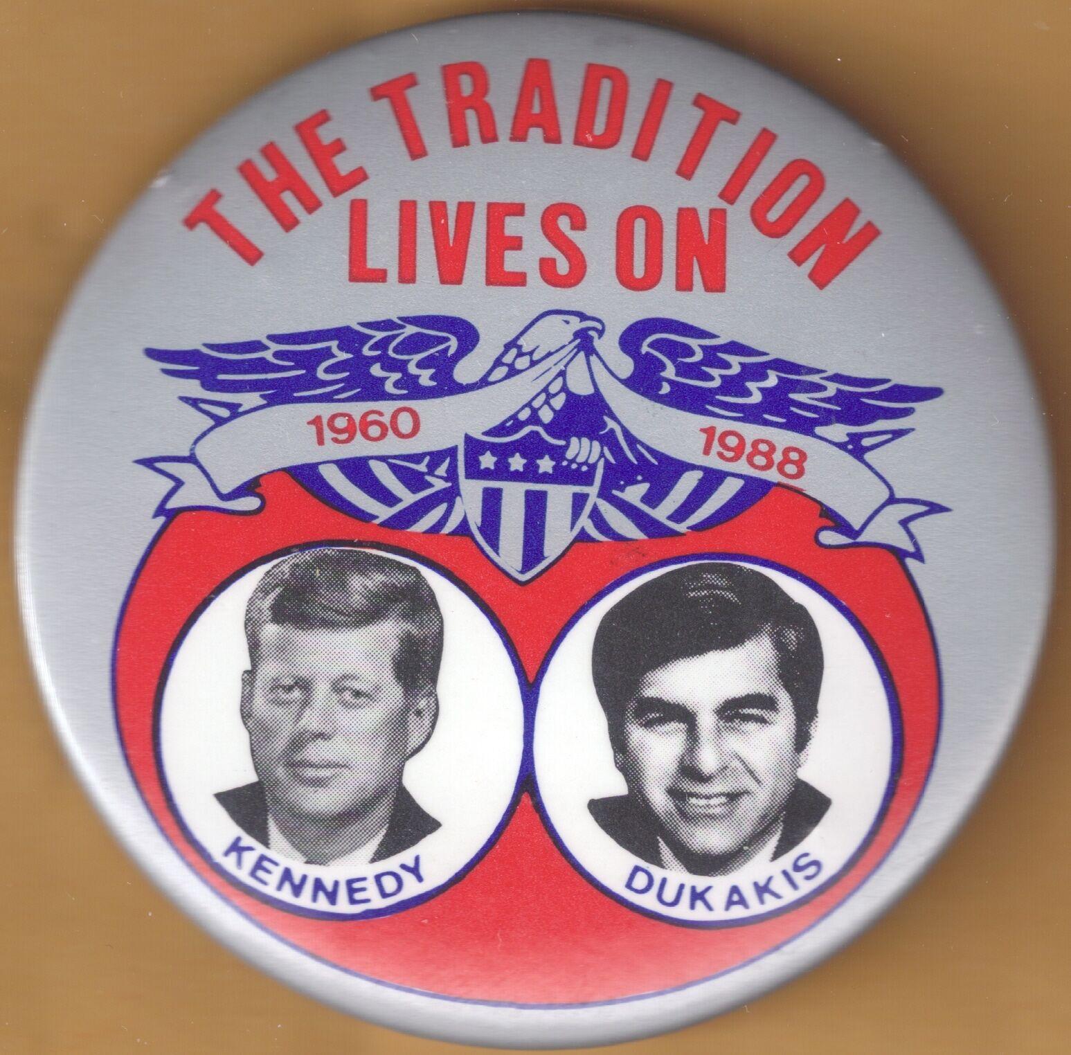 1988 Michael Dukakis for President Effort Button with John F. Kennedy