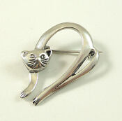 Sterling Silver Cat Brooch Pin