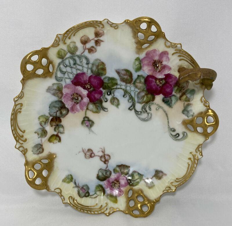 BRC Moliere Germany Reticulated Open Lace Handpainted Floral Nappy Dish Bowl Vtg