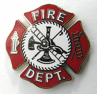 FIRE FIGHTER FIRE DEPT MEDALLION RED SHIELD LAPEL PIN BADGE 1 INCH