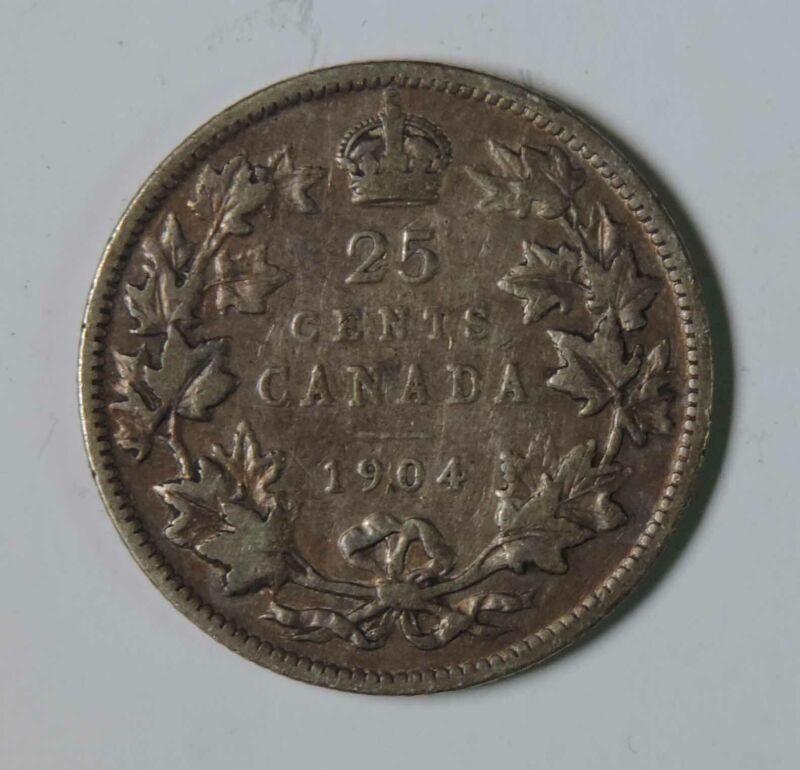 1904 Canada Canadian Edward VII 25 Twenty Five Cents Silver Coin