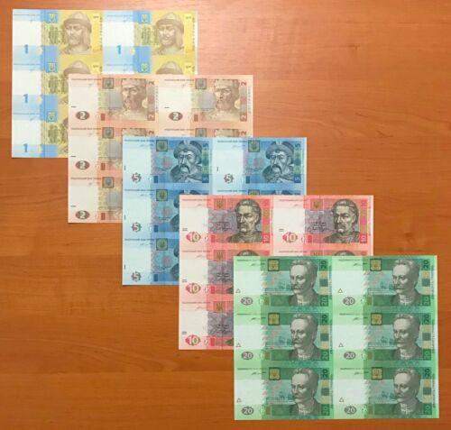 Ukraine, Complete SET of UNCUT SHEETS x 6 PCS, 1 - 20 Hryven - UNC
