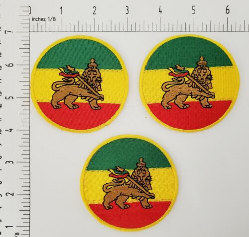 THE LION OF JUDAH  RASTAFARIAN FLAG IRON ON or SEW ON PATCHES of 3 PIECE LOT