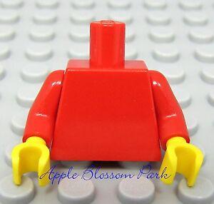 NEW-Lego-Girl-Boy-Minifig-Plain-RED-TORSO-Minifigure-Body-upper-w-Yellow-Hands
