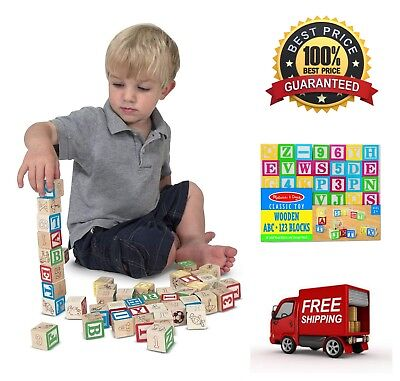 50 Piece Set Wooden ABC/123 Blocks Set w/ Storage Pouch Traditionally Style Toys](Wooden Abc Blocks)