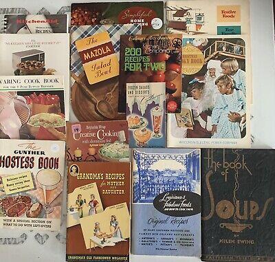 LOT 15 Vintage ADVERTISING COOKBOOKS Pamphlets Booklets Gunther Mazola Waring