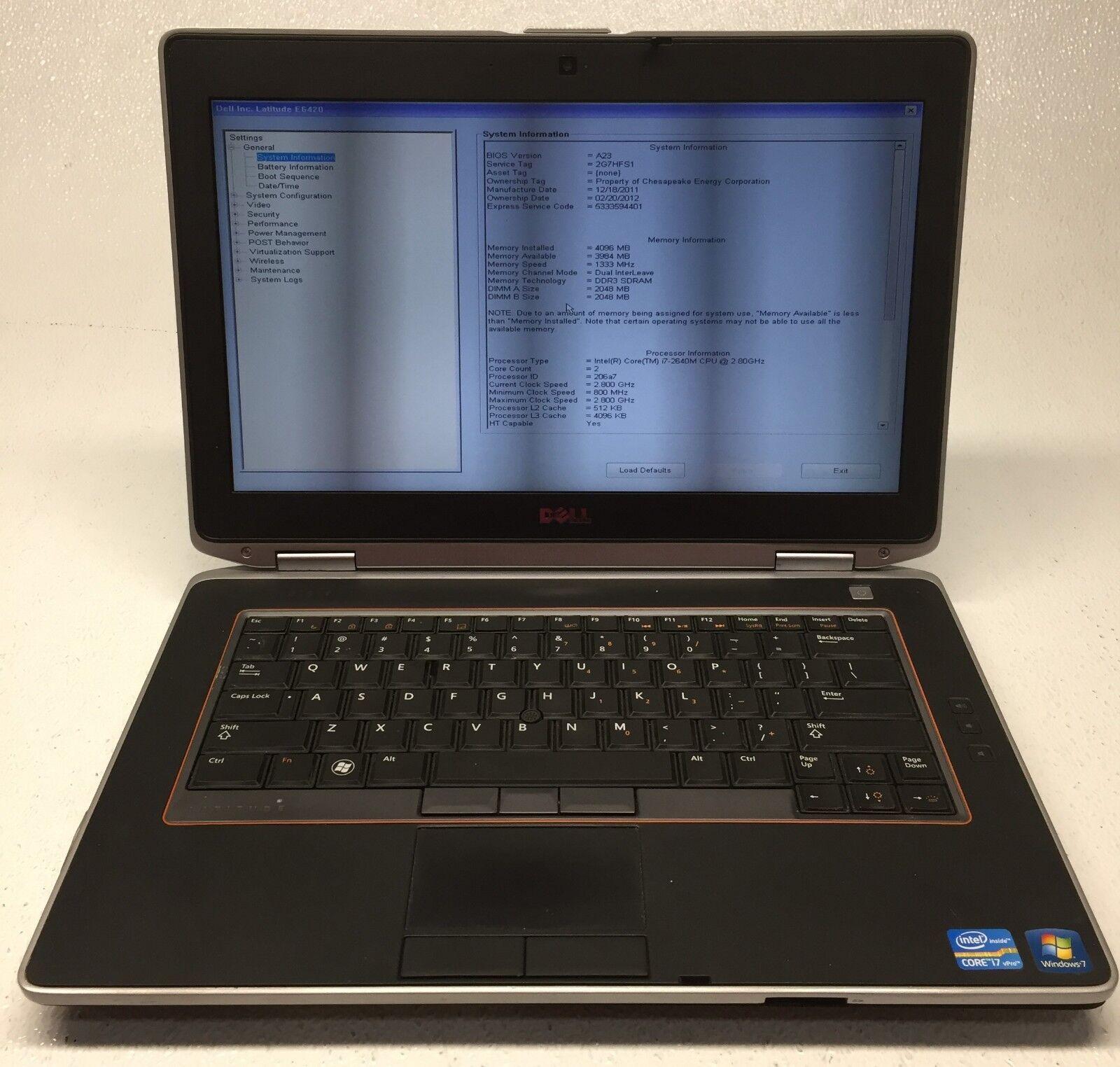 "Dell Latitude E6420 14"" i7-2640M 2.80GHz 4GB RAM NO HDD *BOOTS TO BIOS*"