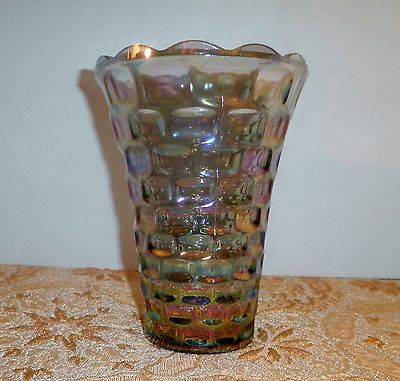 VINTAGE GORGEOUS IRIDESCENCE BLUE CARNIVAL GLASS MID-CENTURY MODERN VASE