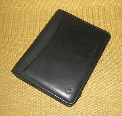 Compact Franklin Covey Black Nappa Leather 1.25 Rings Zip Plannerbinder