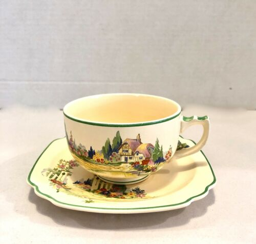 "Homer Laughlin Wells Peacock Mark - English Garden - Cup/Saucer 1930""s"