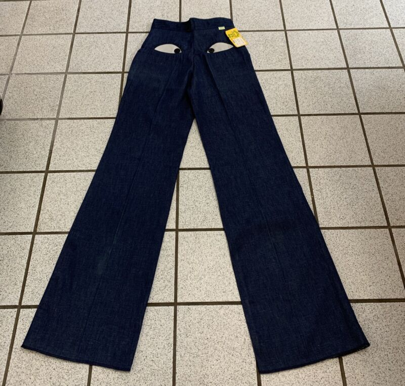 Vintage Girl Bell Bottom Jeans TURTLE BAX Hippy Disco Flare 1970s NEW 27 x 36