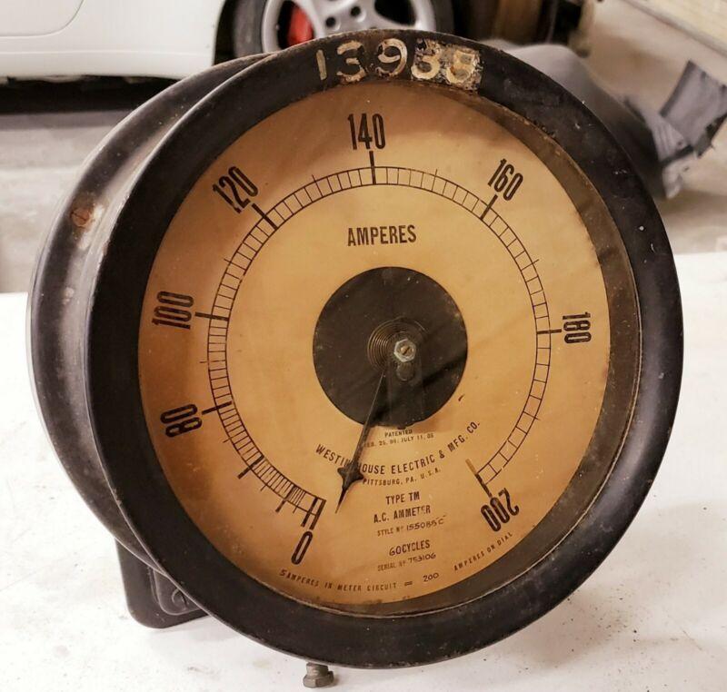 Large Antique Ammeter Electrical Meter Steampunk VTG Industrial Gauge Factory