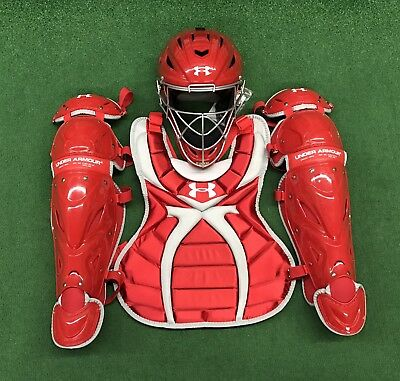 Fastpitch Catchers Gear - Under Armour Youth Girl's 9-12 Fastpitch Catcher's Gear Set - Red