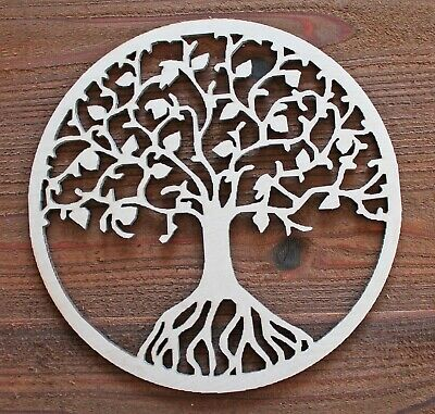 TREE OF LIFE Circle Unfinished Wood Laser Cutout Cut Out Shapes Door Wall Sign  - Unfinished Wood Signs