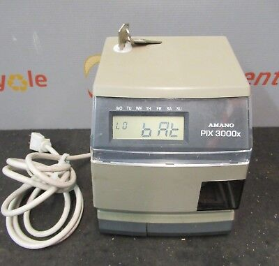 Amano PIX-3000x Digital Electric Time Stamp Recorder Clock Punch In Out -