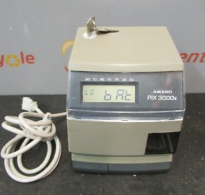 Amano Pix-3000x Digital Electric Time Stamp Recorder Clock Punch In Out Keys