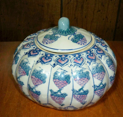 White Ceramic Pumpkin Canister With Grape Design