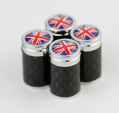 4pcs Carbon Fiber Auto Car Wheel Tire Air Valve Caps Stem Cover British flag new