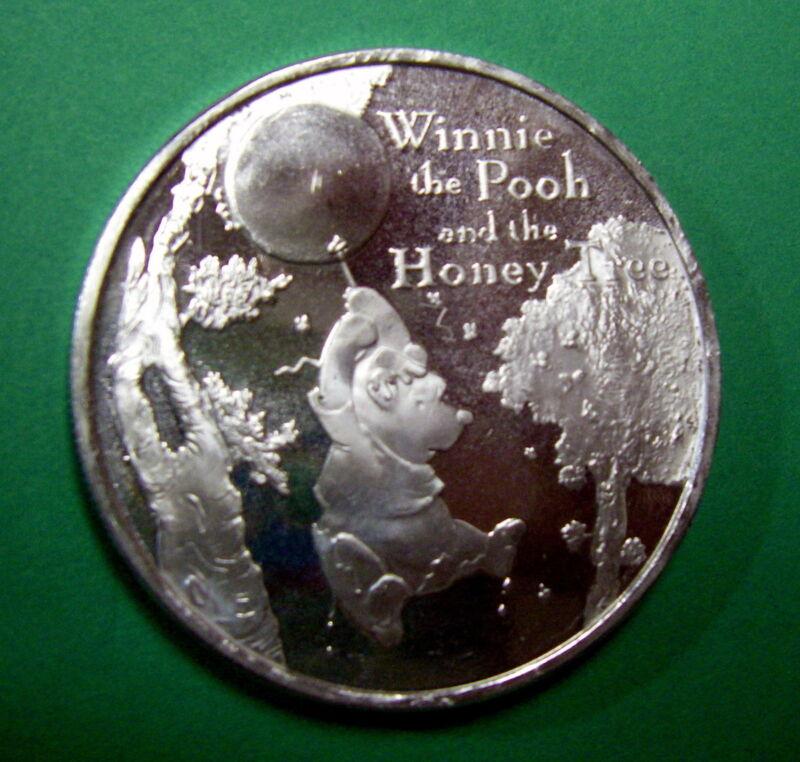 Winnie The Pooh Disney .999 Pure Silver, 1 oz Medallion, The Honey Tree! Scarce!
